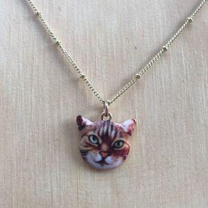 Dark Orange Kitty Charm Necklace